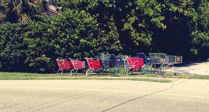 trolley shopping cart art bus stop