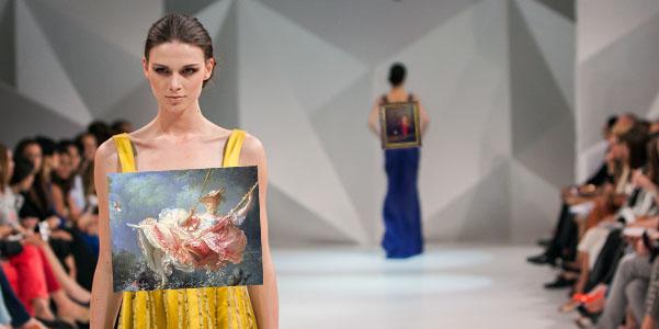 Art models walking on a fashion runway