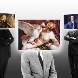 AI art docents bodys with art painting heads